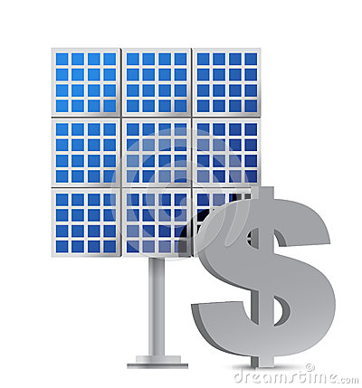 Solar panel and dollar sign illustration design