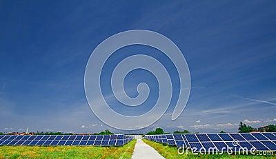 Solar panel in a field