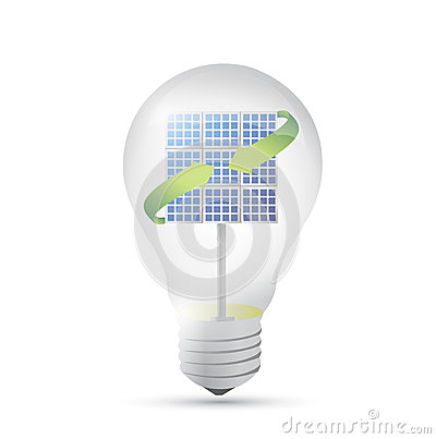 Free Solar Panel Inside A Idea Electricity Light Bulb. Royalty Free Stock Photos - 34087518