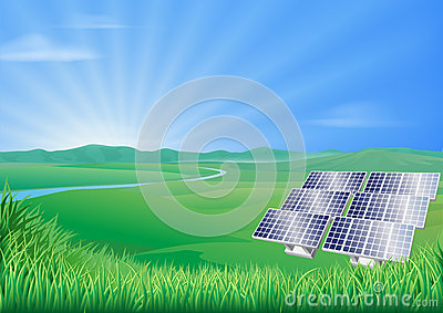 Solar panel landscape illustration