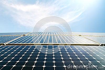 Solar panel modules in the sun