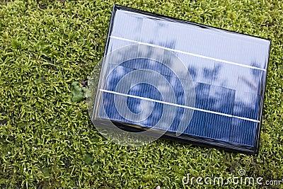 Solar panel on the moss