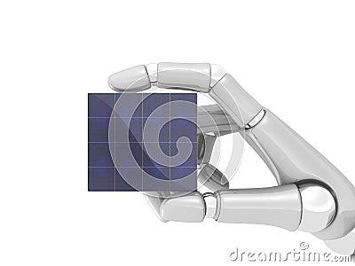 Solar panel in robo hand