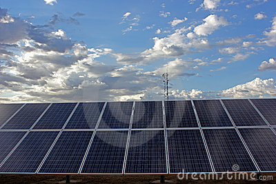 Solar Panel Row Sky
