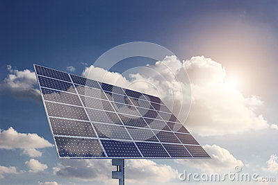 Solar Panel with Sun and clouds on background
