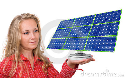 Solar panel in woman s hand