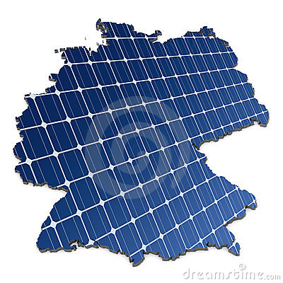 Solar panels in an abstract map of Germany