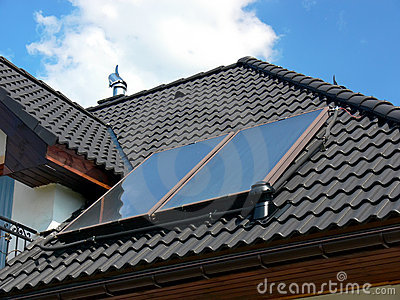 Solar panels on black roof