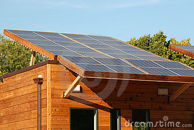Solar Panels on Eco House Roof