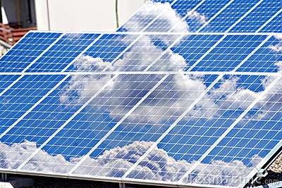 Solar panels field and roof