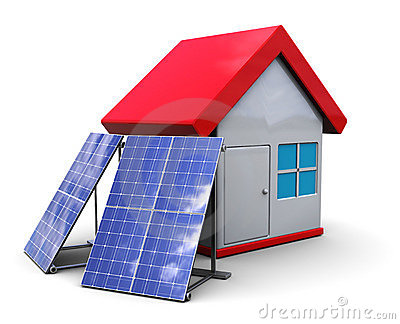 Solar panels and house