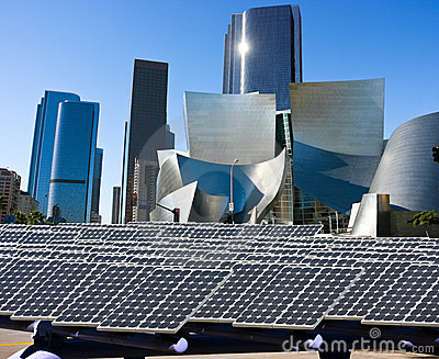 Solar panels in the modern city Editorial Image