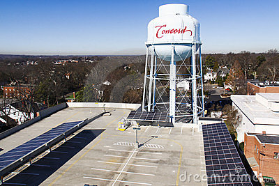 Solar Panels Project on Parking Garage Roof Editorial Stock Image