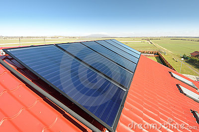 Solar panels on the roof.