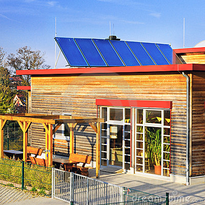 Solar panels on roof of German kindergarten
