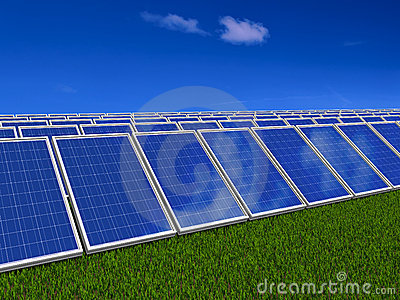 Solar panels system. Green energy from sun.