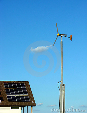 Solar Panels and Wind Turbine Renewable Energy