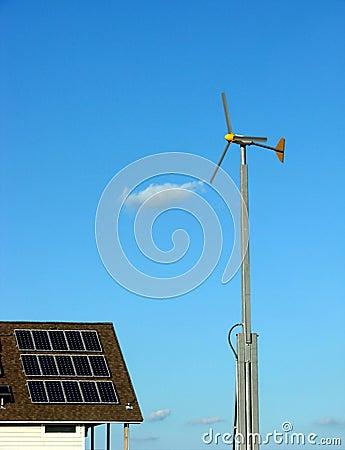 Solar Panels and Wind Turbine Renewable Energy