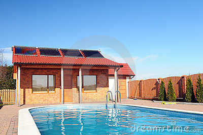 Solar pool heating panels.