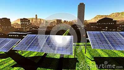 Solar power panels in city