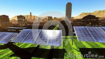 Solar power panels in city