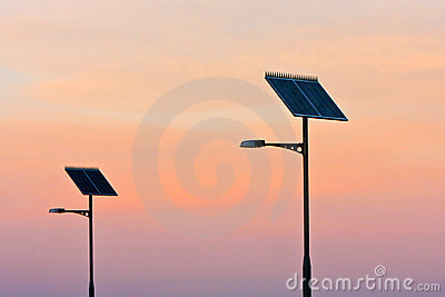 Solar powered street lights at sunset