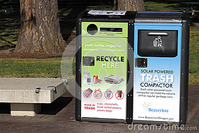Solar Powered Trash Compactor Editorial Image