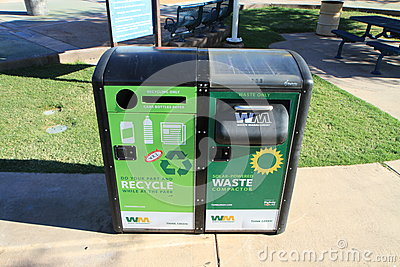Solar-powered waste compactor Editorial Stock Image