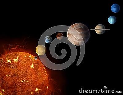 Solar system planets illustration