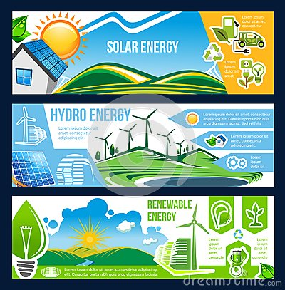Free Solar, Wind And Hydro Energy Banner Of Green Power Royalty Free Stock Image - 120447026