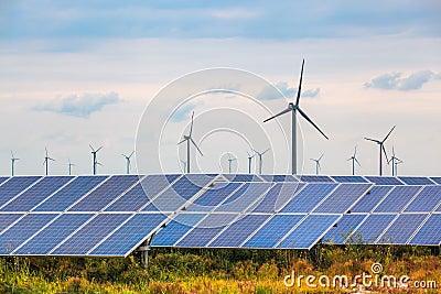 Solar and wind power in coastal mud flat