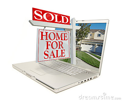 SOLD Home for Sale Sign & New Home - on Laptop
