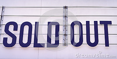 Sold out billboard on a concert venue in blue on white backgroun