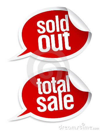Sold out, total sale stickers.