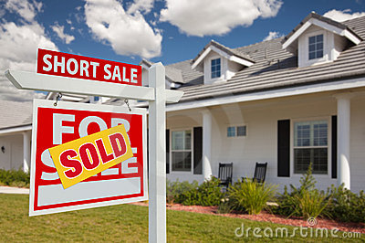 Sold Short Sale Real Estate Sign and House - Left