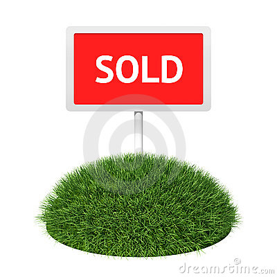 Sold sign with grass