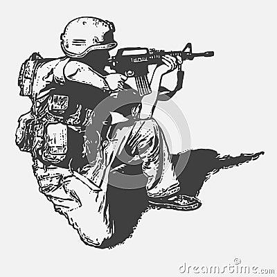 Soldado com um injetor