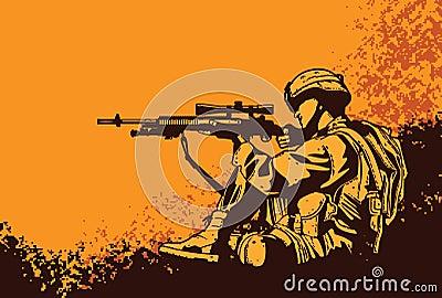 Soldado com um rifle