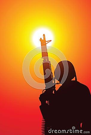 Soldado com uma metralhadora