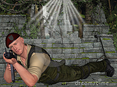 Soldado con el arma