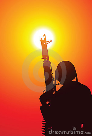 Soldado con una ametralladora