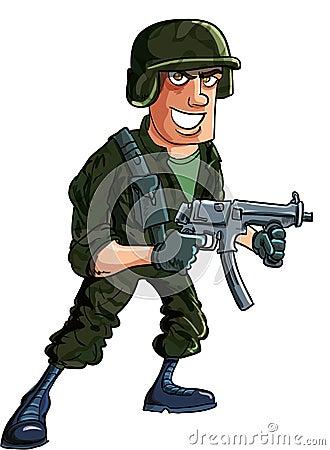 Soldat de bande dessinée avec la sous mitrailleuse