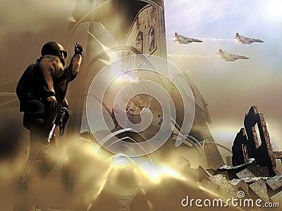 Soldat et chasseurs