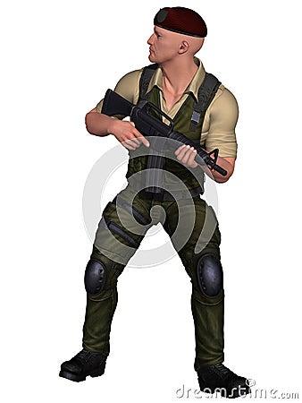Soldat mit Waffe