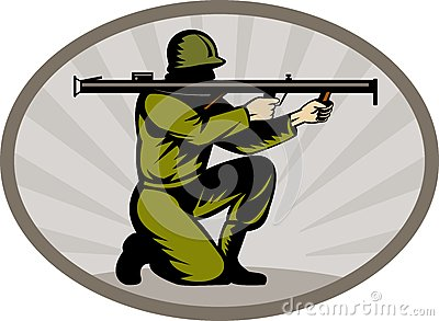Soldier aiming a bazooka