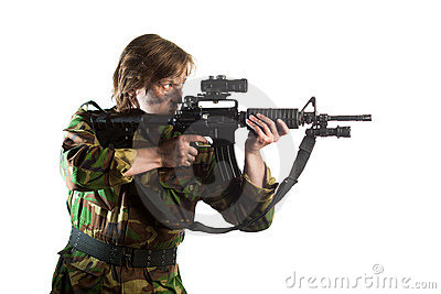 Soldier aiming a riffle