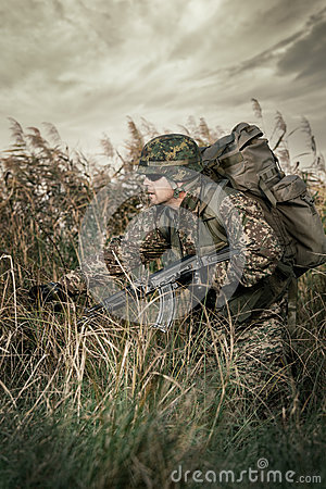 Free Soldier At War In The Swamp Stock Photography - 46466602