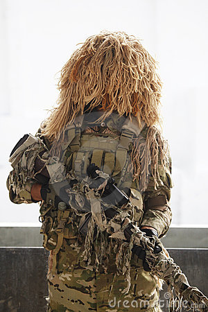 Soldier with camouflage Editorial Photography