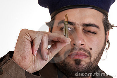 Soldier checking his bullet