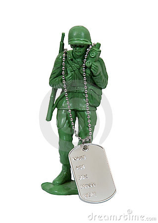 Soldier and dog tags